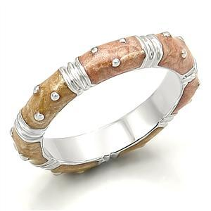Silver Tone Eternity CZ and Enamel Stackable Band Ring - SIZE 8, 10