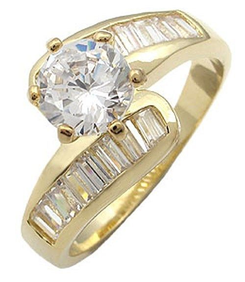 Round CZ with Baguette Sides CZ Engagement Ring - SIZE 6, 8 (LAST ONES)