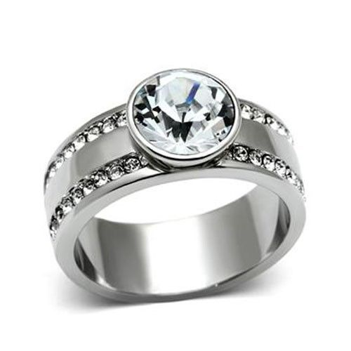 Stainless Steel Bezel Setting Round Crystal Engagement Ring - 5 to 10