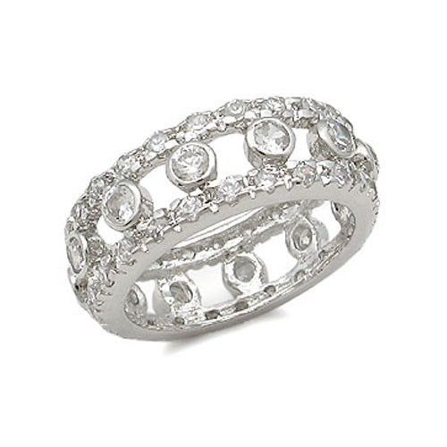 STERLING SILVER Bezel Setting Clear Cubic Zirconia Ring - SIZE 6 (LAST ONE)