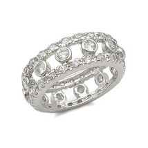 STERLING SILVER Bezel Setting Clear Cubic Zirconia Ring - SIZE 6 (LAST ONE) - $26.25