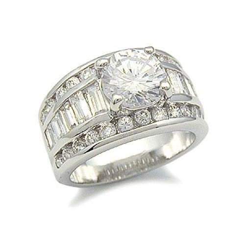 Round CZ with Baguette Sides Cubic Zirconia Engagement Ring - SIZE 6, 9, 10