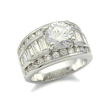 Round CZ with Baguette Sides Cubic Zirconia Engagement Ring - SIZE 6, 9, 10 image 1