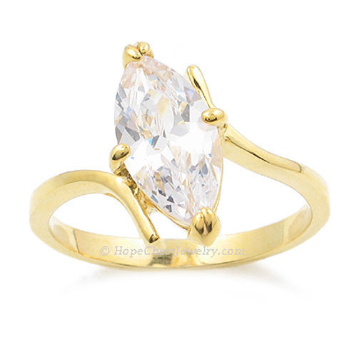 Gold Tone Marquise Cut Cubic Zirconia Engagement Ring - SIZE 6 OR OTHER SIZES