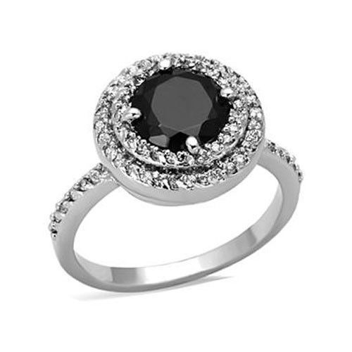 Silver Tone 4 Prong Black Cubic Zirconia Ring  - SIZE 8, 9 (LAST ONES)