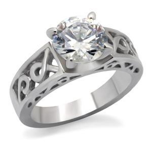 Stainless Steel Round Cut CZ Solitaire Engagement Ring - SIZE 6, 7 image 3