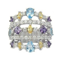STERLING SILVER Multiple Color Cubic Zirconia Wide Band Ring - Size 5 (L... - $20.24