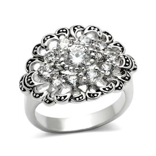 Antique Finish Cluster Flower Cubic Zirconia Ring -  SIZE 5 to 9