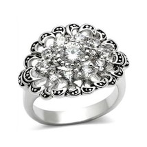 Antique Finish Cluster Flower Cubic Zirconia Ring -  SIZE 5 to 9 image 1