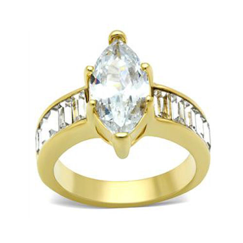 6 Prong Gold Tone Marquise CZ with Baguette CZ Side Engagement Ring - SIZE 7
