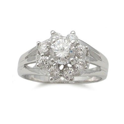 Sterling Silver Flower Design Cubic Zirconia Ring - SIZE 5 (LAST ONE)