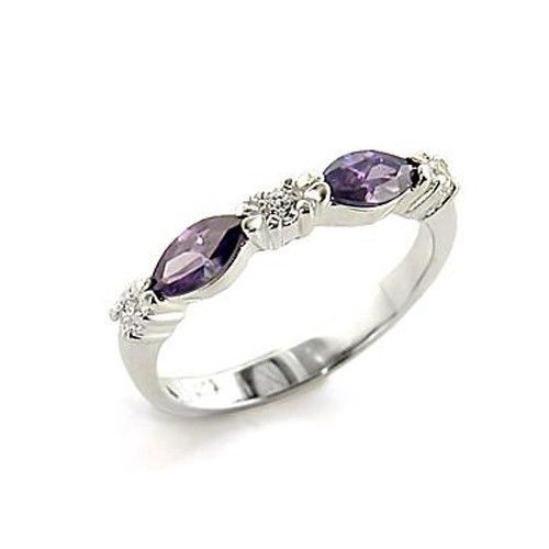 Sterling Silver Marquise Cut Purple Cubic Zirconia Band Ring - SIZE 8 (LAST 1)