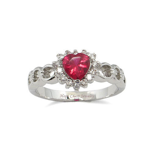 Solitaire Ruby Red Heart Design Cubic Zirconia Ring -SIZE 6, 8, 9, 10
