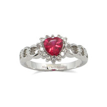 Solitaire Ruby Red Heart Design Cubic Zirconia Ring -SIZE 6, 8, 9, 10 image 1