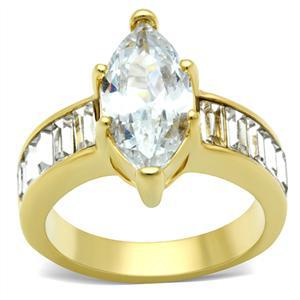 6 Prong Gold Tone Marquise CZ with Baguette CZ Side Engagement Ring - SIZE 7 image 2
