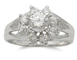Sterling Silver Flower Design Cubic Zirconia Ring - SIZE 5 (LAST ONE) image 2