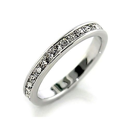 Sterling Silver Clear Crystal Eternity Wedding Band Ring - SIZE 4 - 10