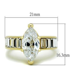 6 Prong Gold Tone Marquise CZ with Baguette CZ Side Engagement Ring - SIZE 7 image 3