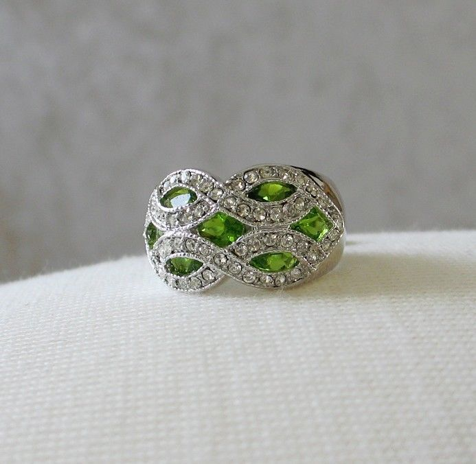 Silver Tone Marquise Cut Green Cubic Zirconia Dome Ring- SIZE 7 (last one)