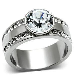 Stainless Steel Bezel Setting Round Crystal Engagement Ring - 5 to 10 image 2