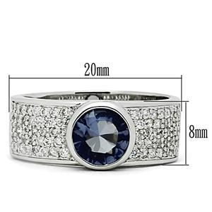 Silver Tone Simulated Tanzanite Cubic Zirconia Ring - SIZE 5 - 9 image 2