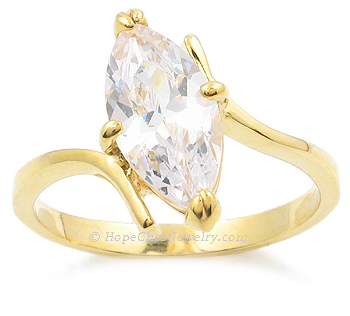 Gold Tone Marquise Cut Cubic Zirconia Engagement Ring - SIZE 6 OR OTHER SIZES image 2