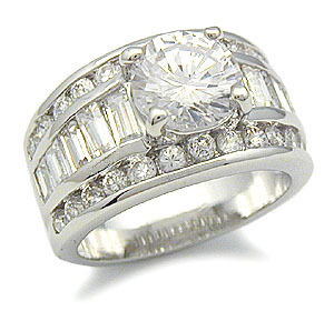 Round CZ with Baguette Sides Cubic Zirconia Engagement Ring - SIZE 6, 9, 10 image 2
