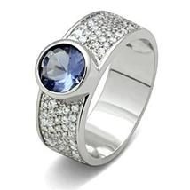Silver Tone Simulated Tanzanite Cubic Zirconia Ring - SIZE 5 - 9 image 3