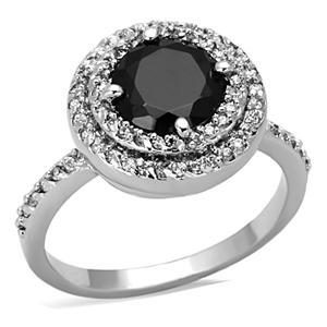 Silver Tone 4 Prong Black Cubic Zirconia Ring  - SIZE 8, 9 (LAST ONES) image 2