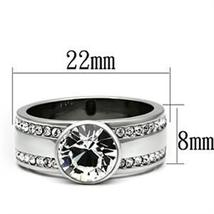 Stainless Steel Bezel Setting Round Crystal Engagement Ring - 5 to 10 image 3