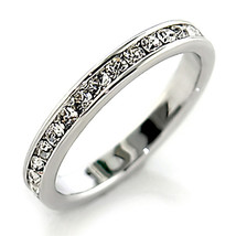 Sterling Silver Clear Crystal Eternity Wedding Band Ring - SIZE 4 - 10 image 2