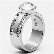 Stainless Steel Bezel Setting Round Crystal Engagement Ring - 5 to 10 image 4