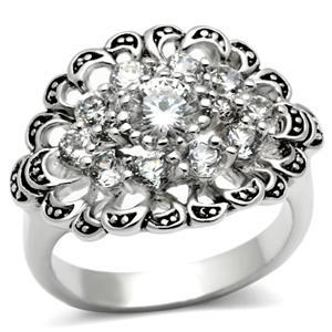Antique Finish Cluster Flower Cubic Zirconia Ring -  SIZE 5 to 9 image 2