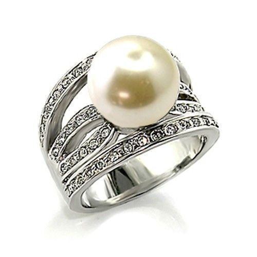 12mm White Pearl Solitaire Cubic Zirconia Ring- SIZE 5 TO 10