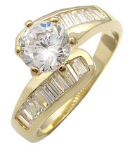 Round CZ with Baguette Sides CZ Engagement Ring - SIZE 6, 8 (LAST ONES) image 2