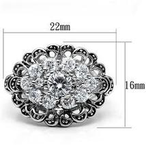 Antique Finish Cluster Flower Cubic Zirconia Ring -  SIZE 5 to 9 image 3
