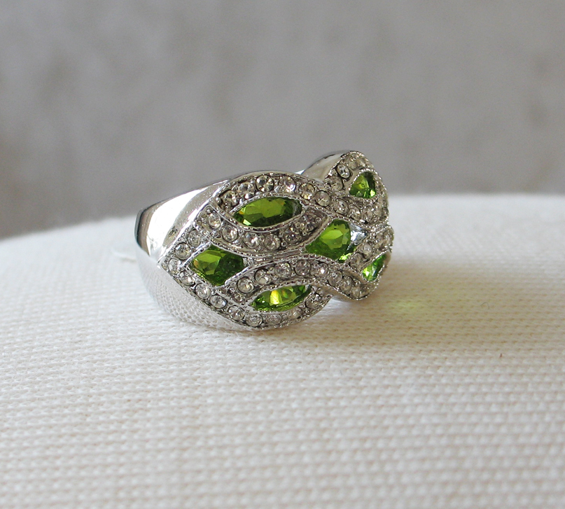 Silver Tone Marquise Cut Green Cubic Zirconia Dome Ring- SIZE 7 (last one) image 2