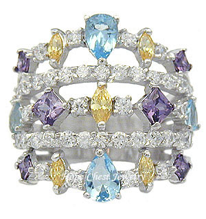 STERLING SILVER Multiple Color Cubic Zirconia Wide Band Ring - Size 5 (LAST 1)