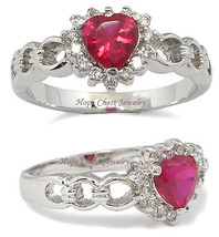 Solitaire Ruby Red Heart Design Cubic Zirconia Ring -SIZE 6, 8, 9, 10 image 2