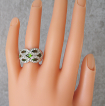 Silver Tone Marquise Cut Green Cubic Zirconia Dome Ring- SIZE 7 (last one) image 3