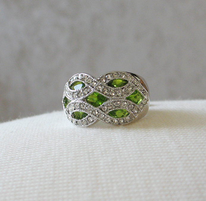 Silver Tone Marquise Cut Green Cubic Zirconia Dome Ring- SIZE 7 (last one) image 4