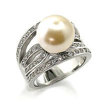12mm White Pearl Solitaire Cubic Zirconia Ring- SIZE 5 TO 10 image 2