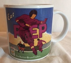 Vtg 1984 Kelloggs PEP Coffee Mug football Eat PEP The Better Bran Flakes - $9.50