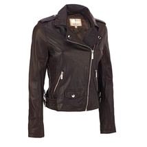 New Women's Genuine Soft Lamb Skin Slim Fit Biker Motorcycle Leather Jac... - $145.00