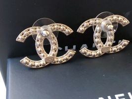 100% AUTH NEW CHANEL 2019 XL Large Gold CC Crystal Stud Earrings image 12