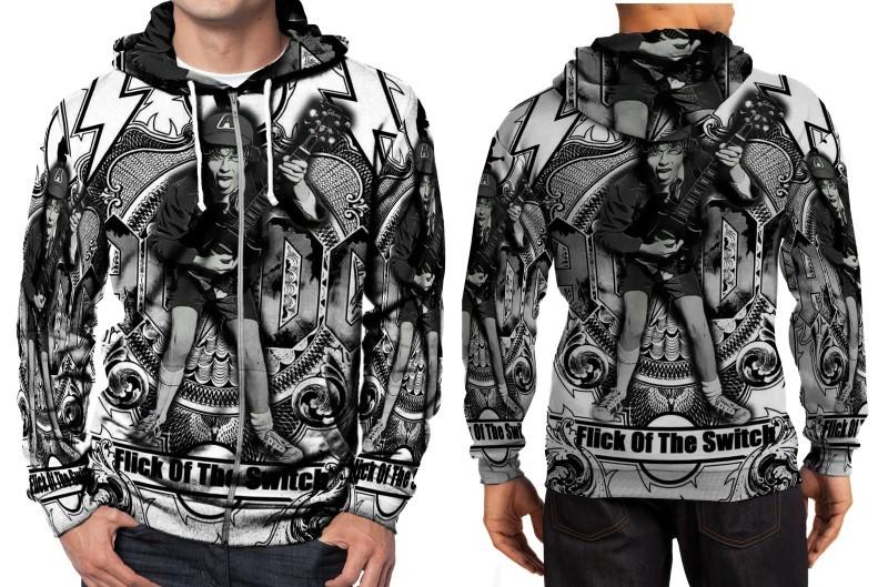 AC DC logo Hoodie Zipper Fullprint Men - $46.80