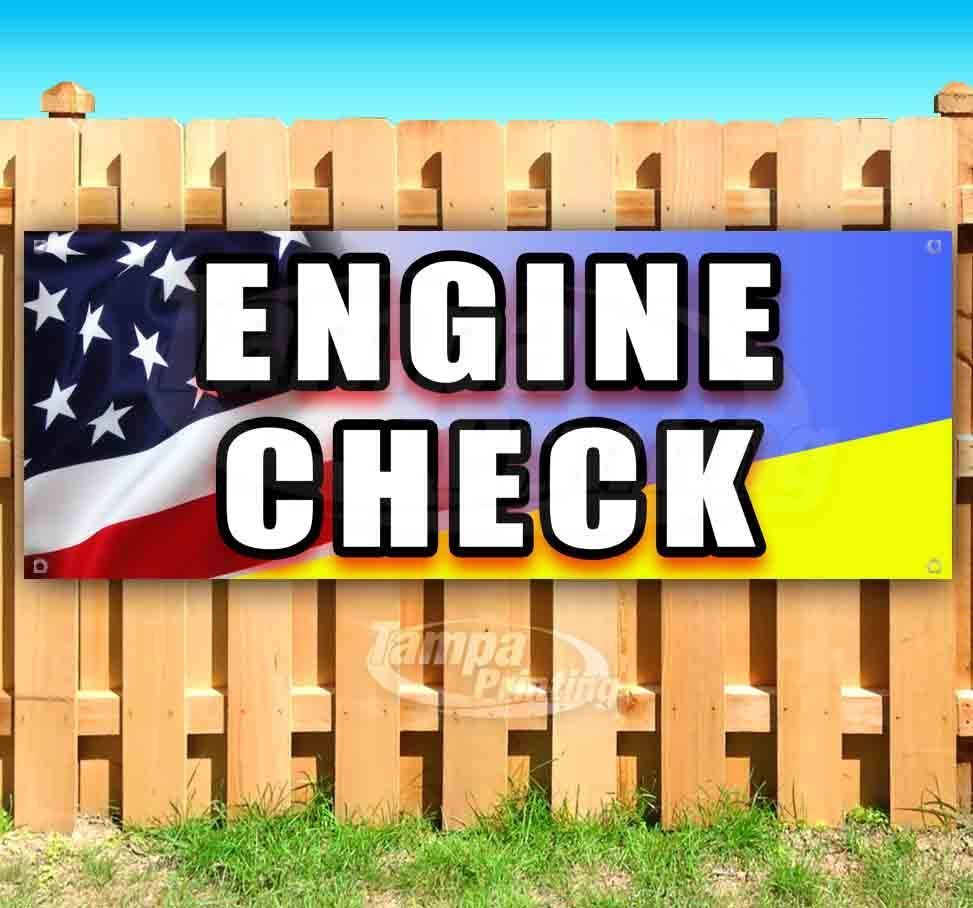 Primary image for ENGINE CHECK Advertising Vinyl Banner Flag Sign Many Sizes MECHANIC REPAIR