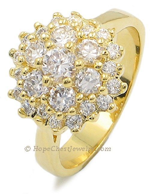 RIGHT HAND RING - Gold Plated Cluster CZ Ring - SIZE 7, 9 OR OTHER SIZES