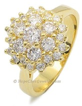 RIGHT HAND RING - Gold Plated Cluster CZ Ring - SIZE 7, 9 OR OTHER SIZES image 1
