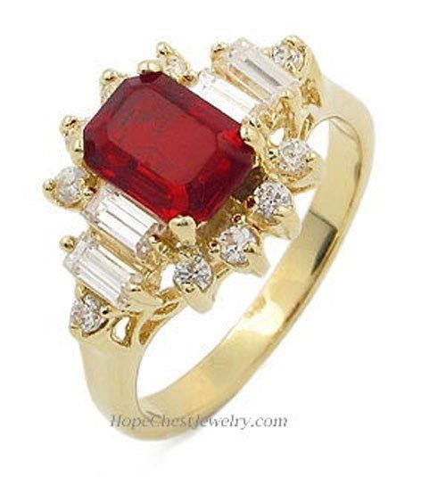 Gold Tone Garnet Red Cubic Zirconia Right Hand Ring - SIZE 5, 9 (LAST ONES)